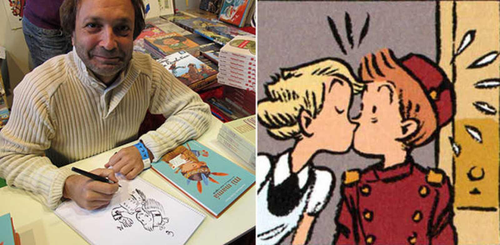 Émile Bravo en Expocómic y uno de sus dibujos de Spirou