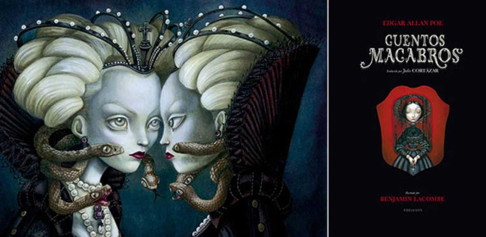 La Reina Bruja de Blancanieves y portada de 'Cuentos macabros ' de Poe, de Benjamin Lacombe