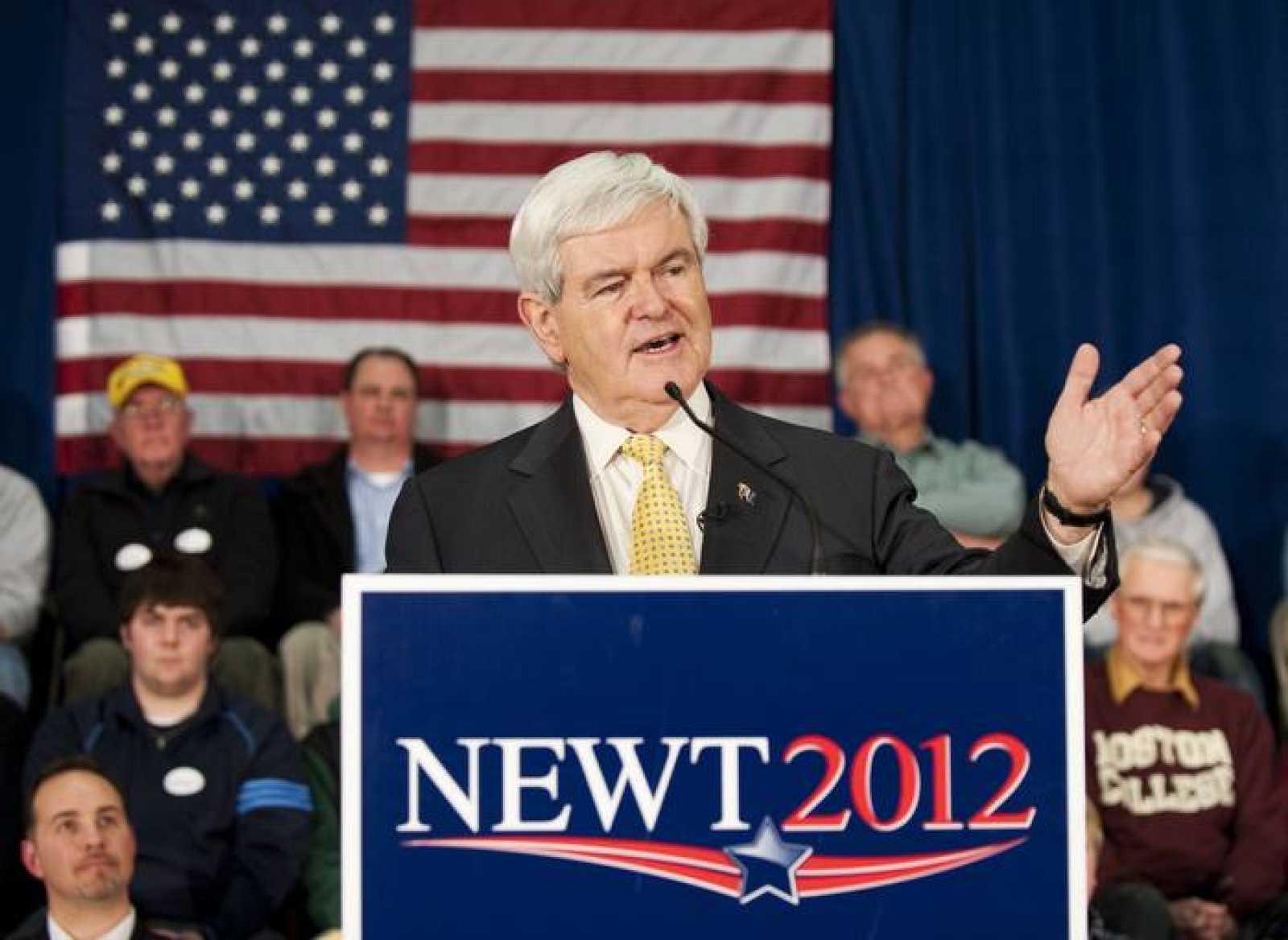 El candidato Newt Gingrich durante un acto de su campaña