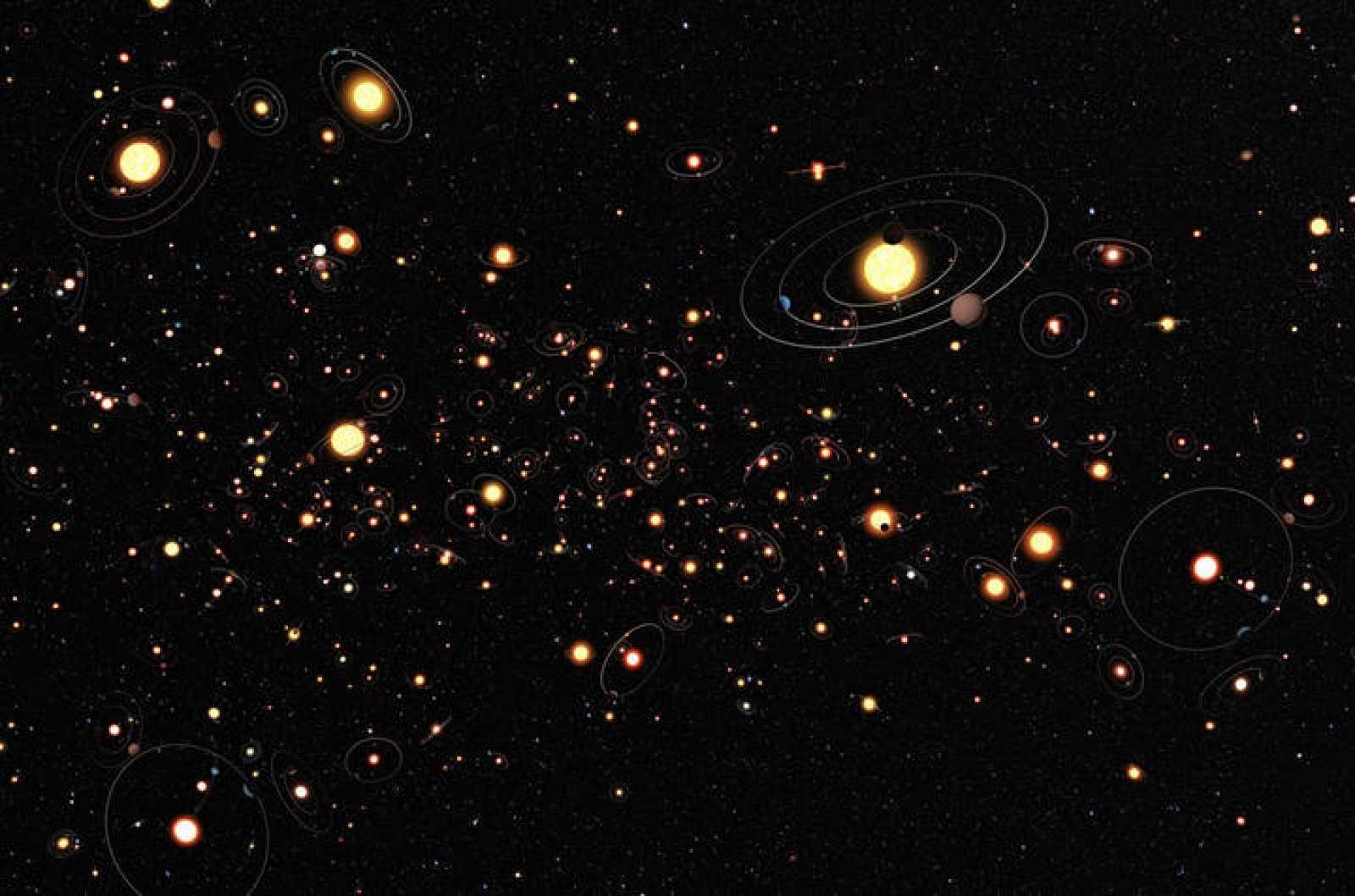 Recreación artística que plasma lo comunes que son los planetas en torno a estrellas.