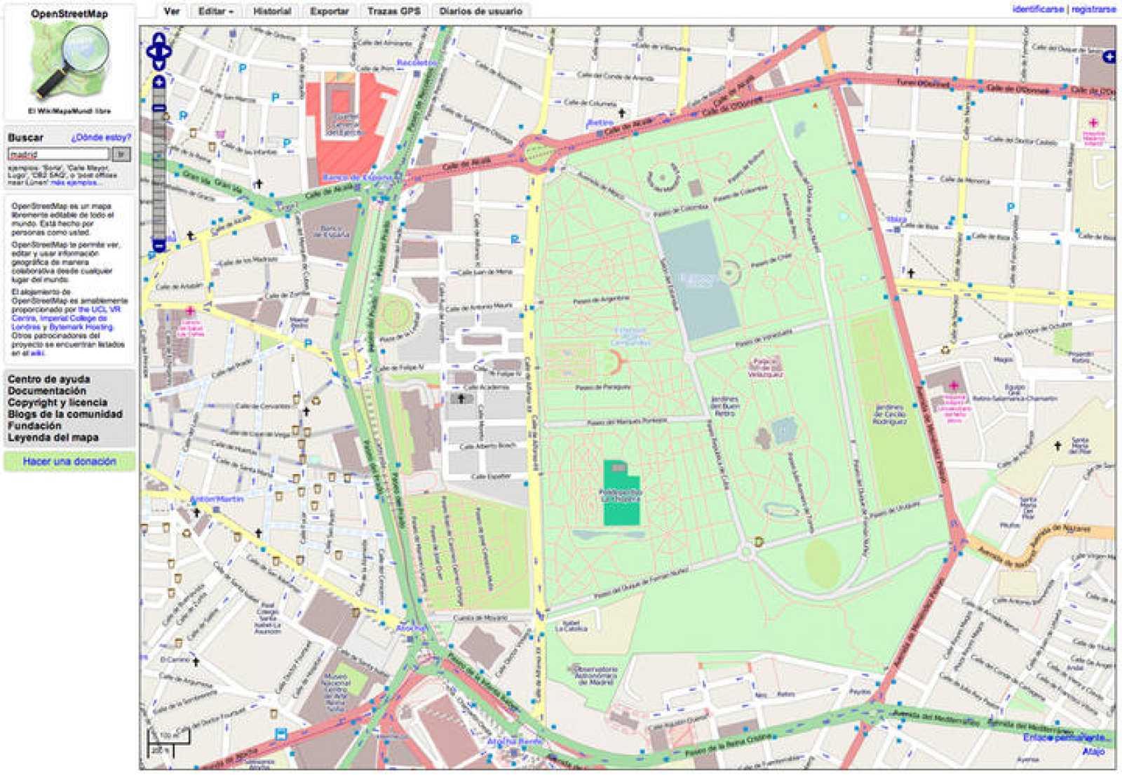 Así se ve un mapa del centro de Madrid en OpenStreetMap