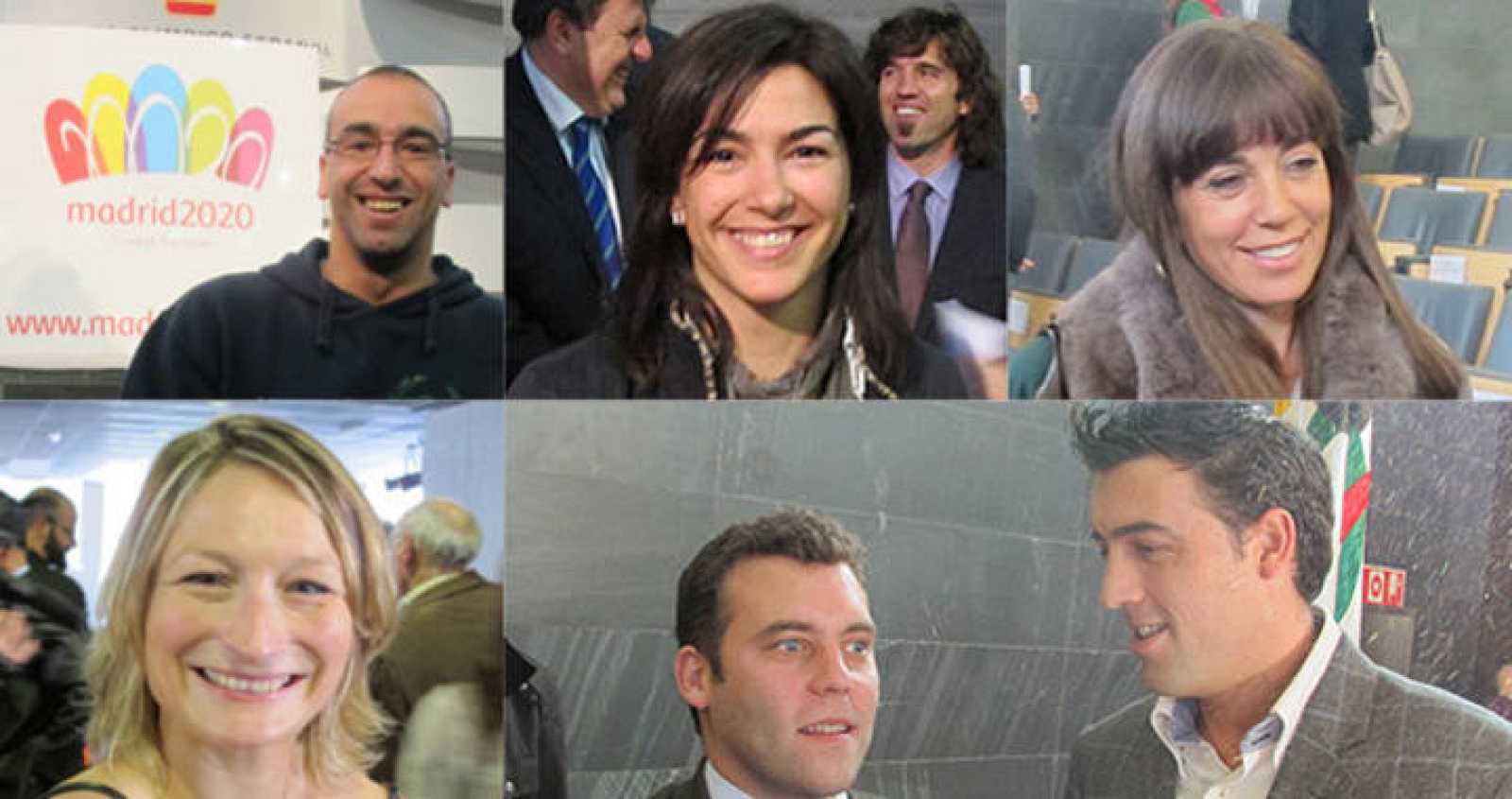 Los deportistas Llambi, Rienda, Coghen (arriba de izquierda a derecha), Álvarez, Carballo y Pirri (abajo de izquierda a derecha) apoyan la candidatura de Madrid 2020.