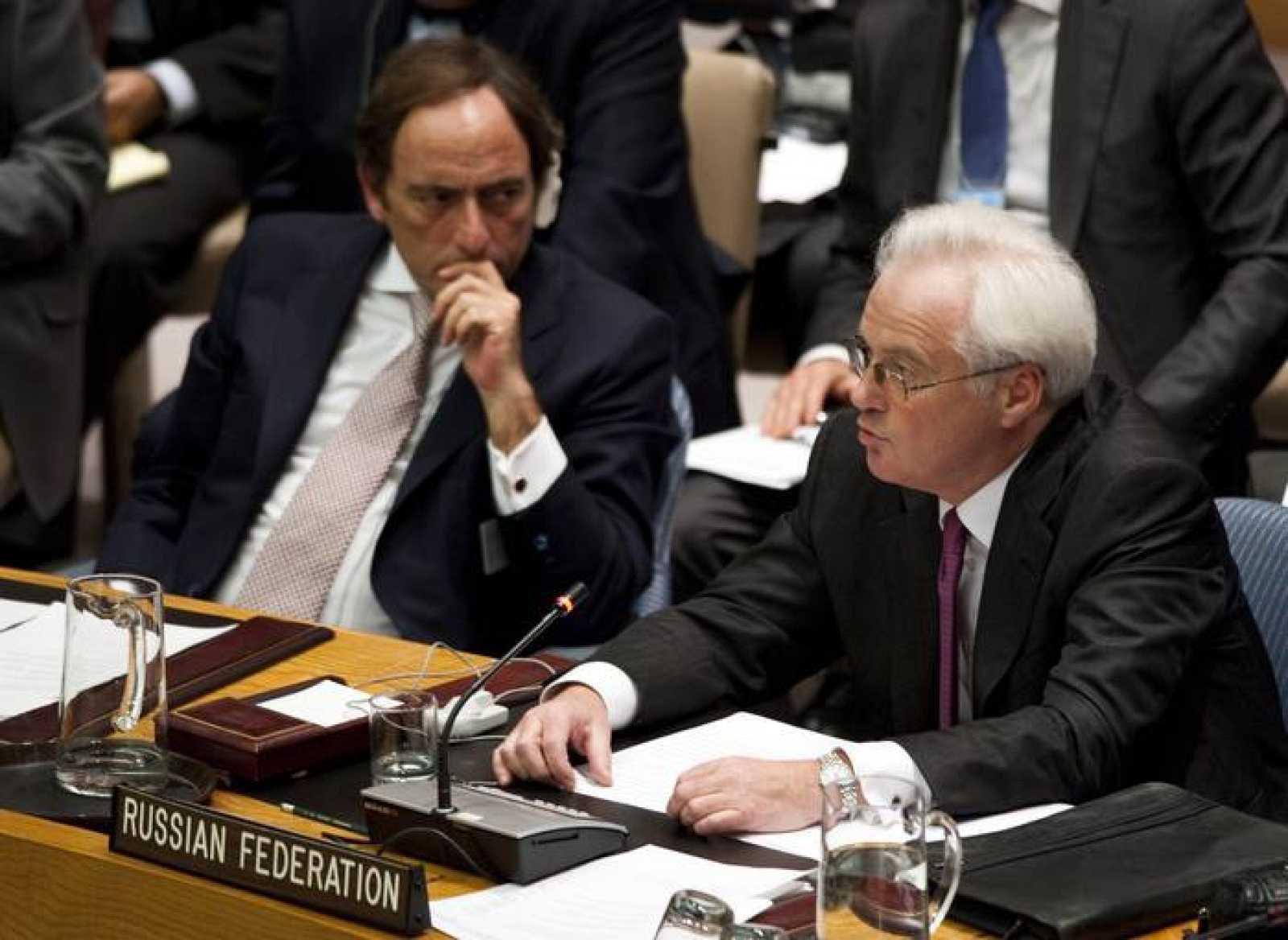 El embajador de Rusia ante la ONU, Vitaly Churkin, habla durante la reunión del Consejo de Seguridad, este martes