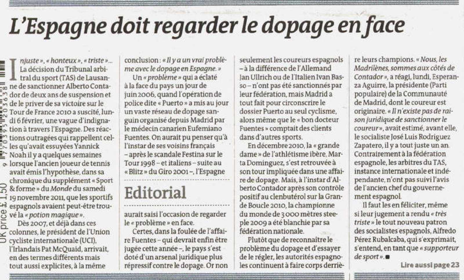 """Texto del editorial publicado por Le Monde en su portada del 8 de febrero de 2012: """"España debe mirar de frente al dopaje"""""""