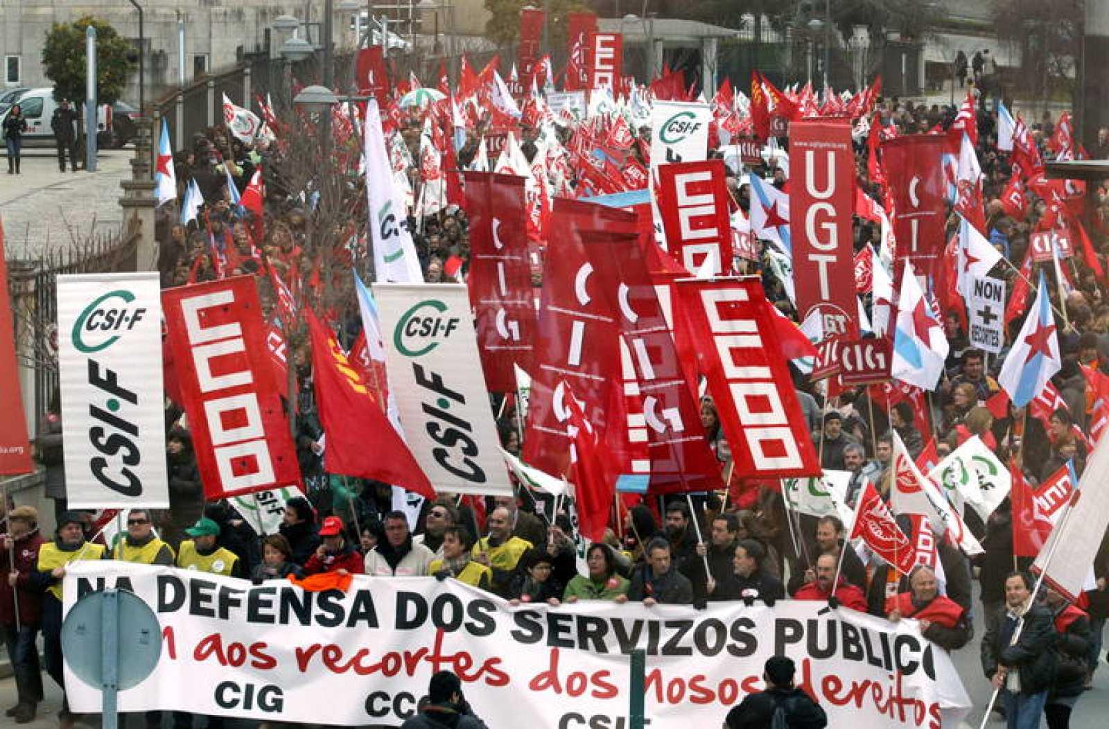 Manifestación de UGT, CCOO, CIG y CSIF en Santiago de Compostela el pasado día 9 de febrero en defensa del empleo público