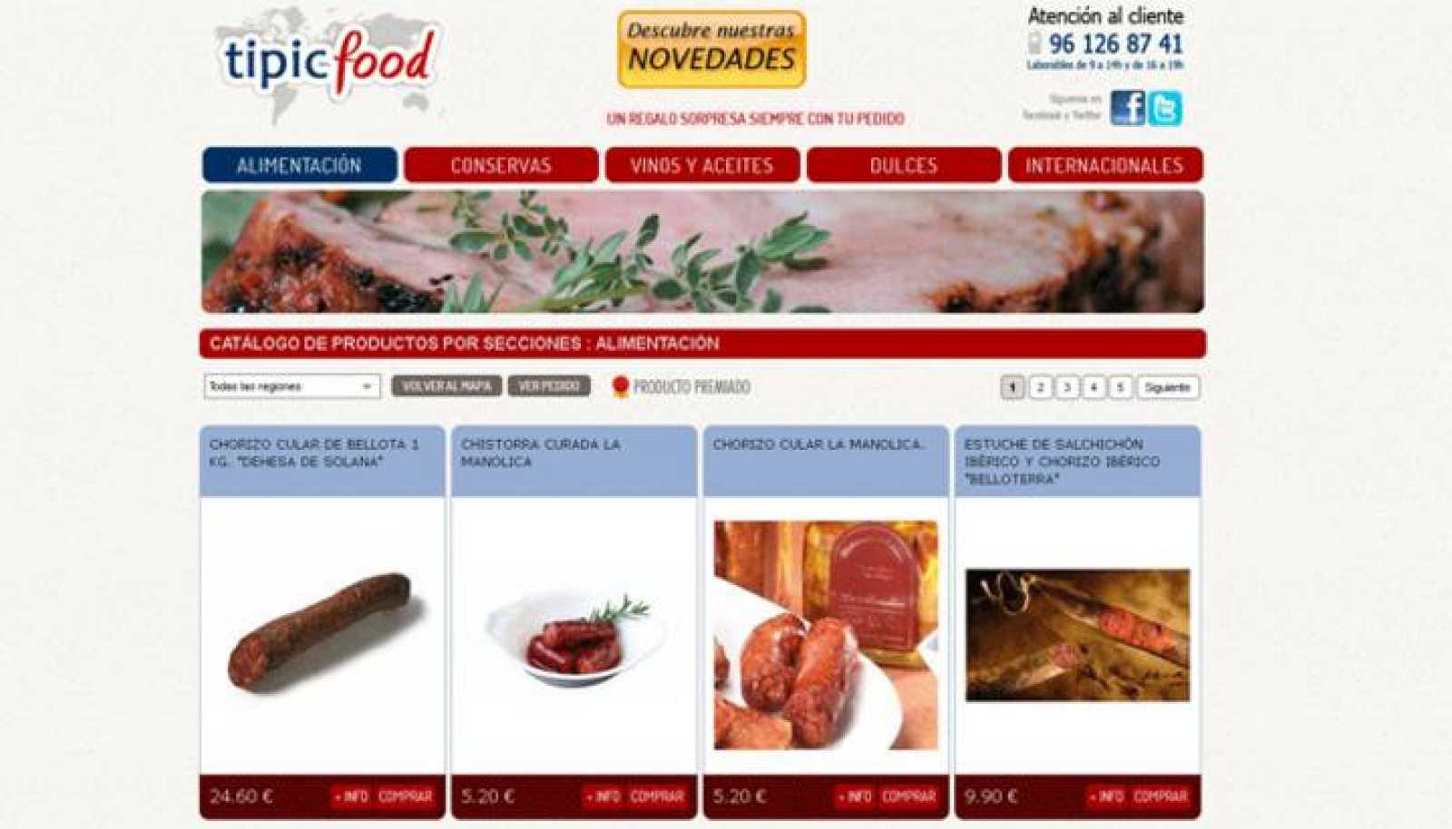 El escaparate de internet en el que Tipic Food vende alimentos típicos españoles