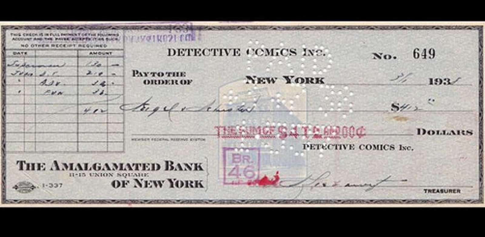 El cheque de 130 dólares con el que se compró a Superman