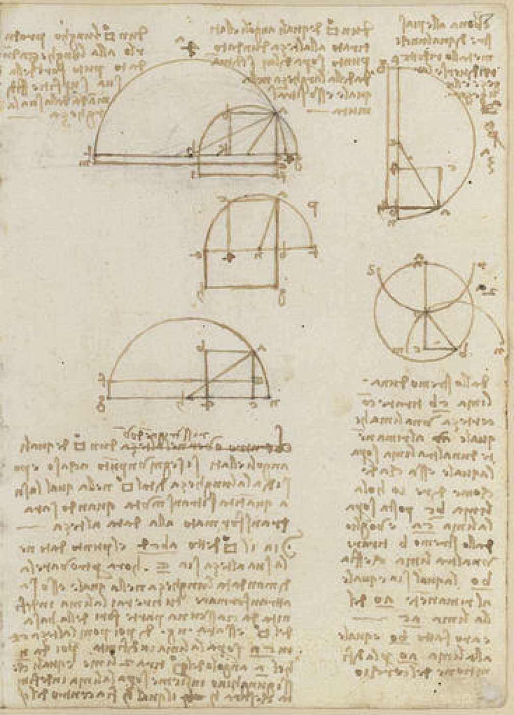 Varias páginas de uno de los manuscritos de Leonardo Da Vinci