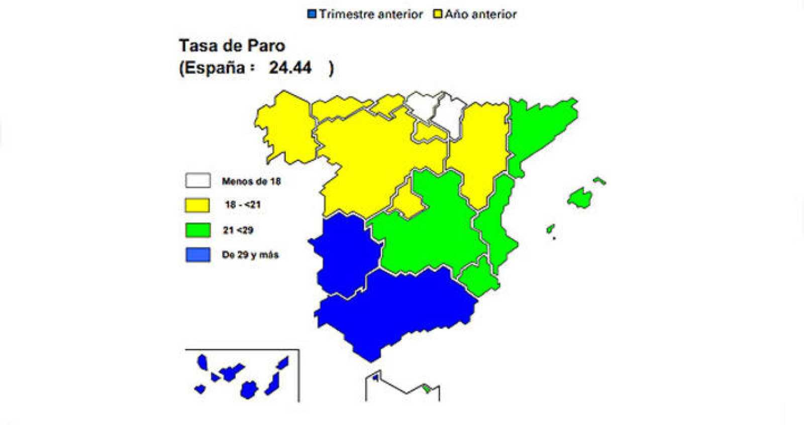 La tasa de paro más baja es la de País Vasco y la más alta, la de Andalucía