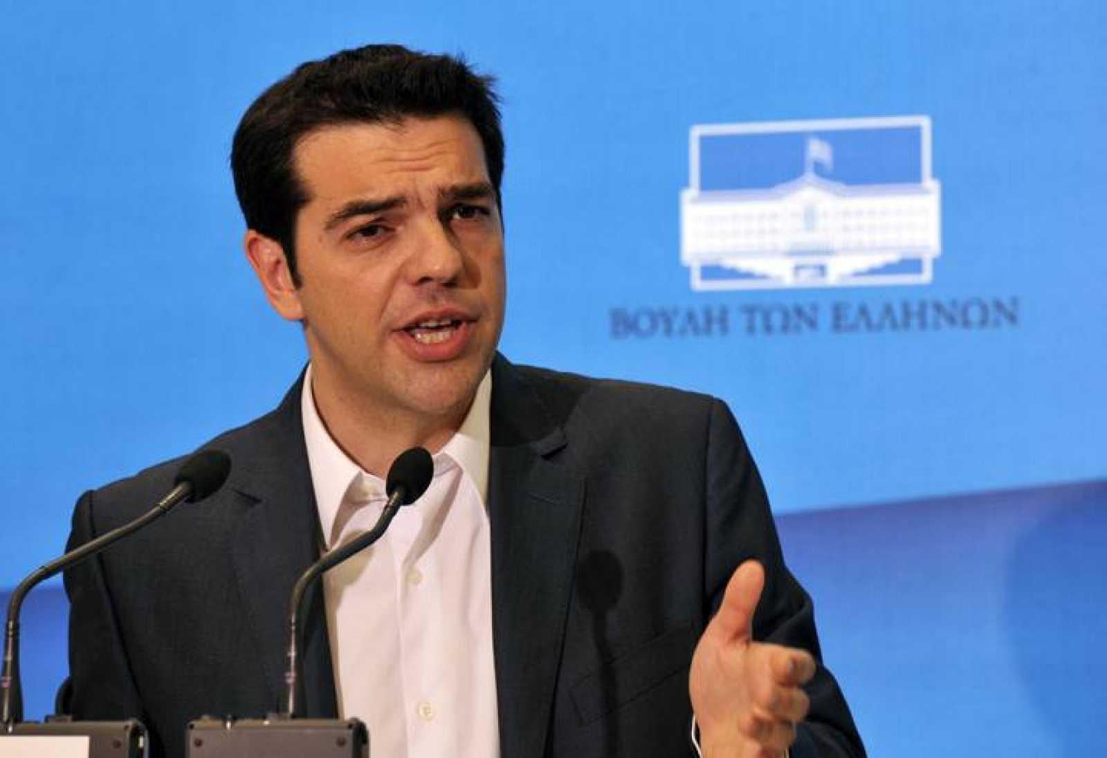 El líder de Syriza, en la sede de su partido.