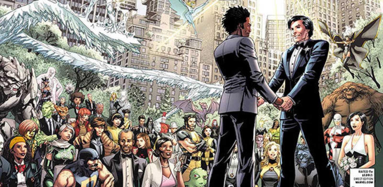 """Detalle de la portada del último número del cómic de Marvel """"Astonishing X-Men"""", con la boda de Estrella del Norte, que sale hoy miércoles a la venta en EE.UU."""