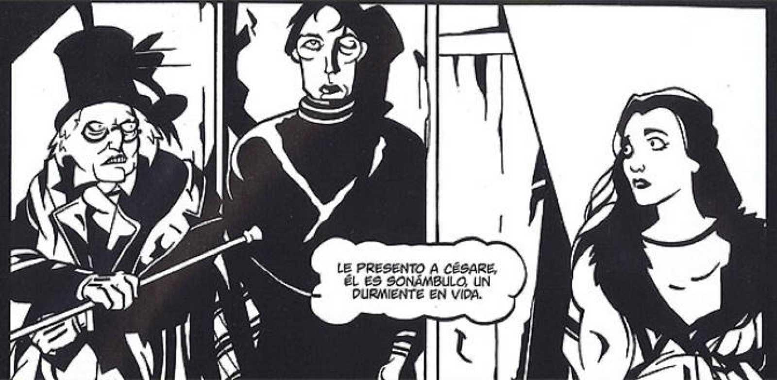 Fragmento de una viñeta de 'El gabinete del Doctor Caligari', de Diego Olmos