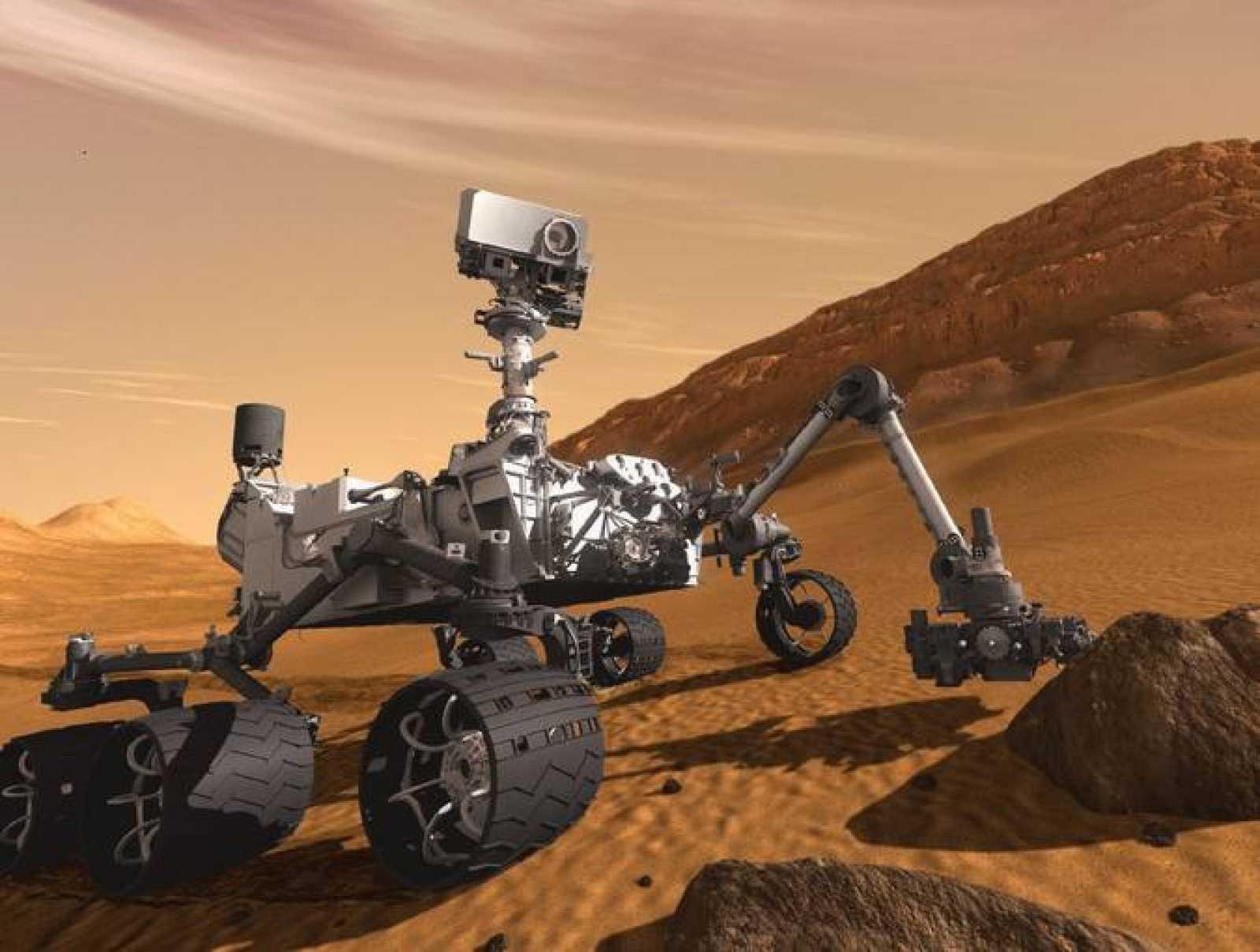 Impresión artística de Curiosity sobre la superficie marciana