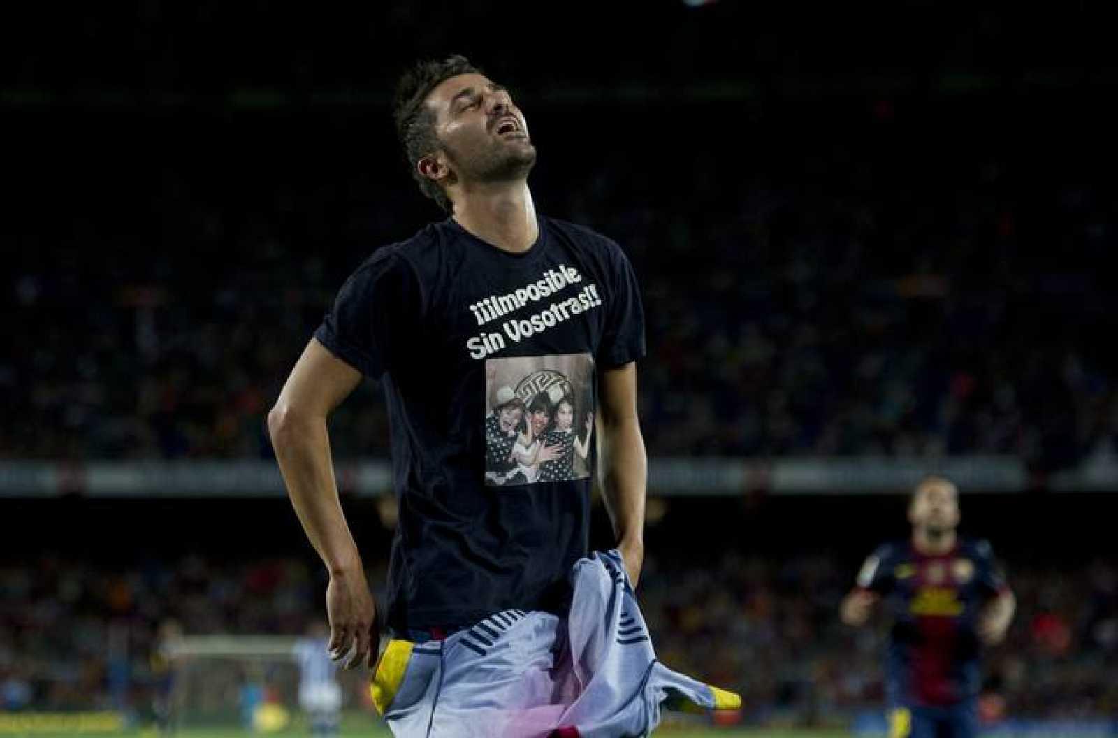 David Villa celebra su gol conseguido ante la Real Sociedad.