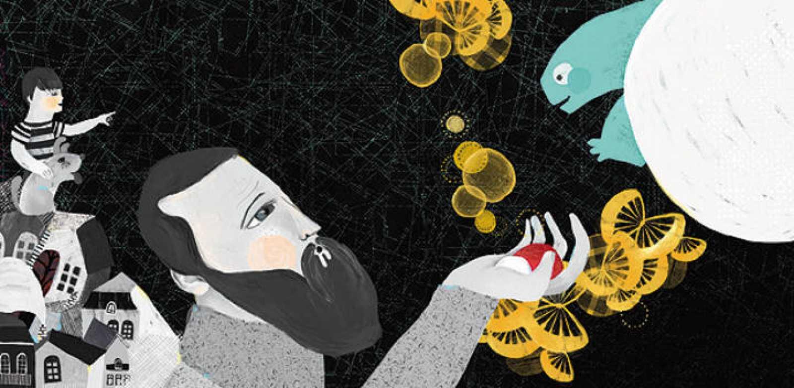 Ilustración de 'El hombre que quiso conocer a la Luna', de Elena Hormiga