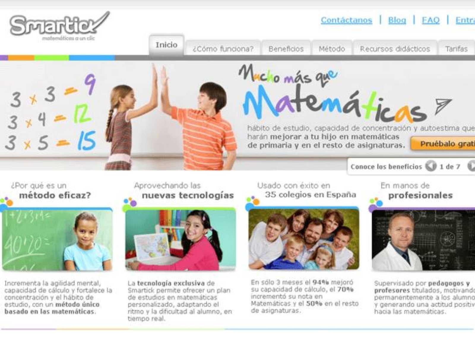 La página de Smartick, método de matemáticas