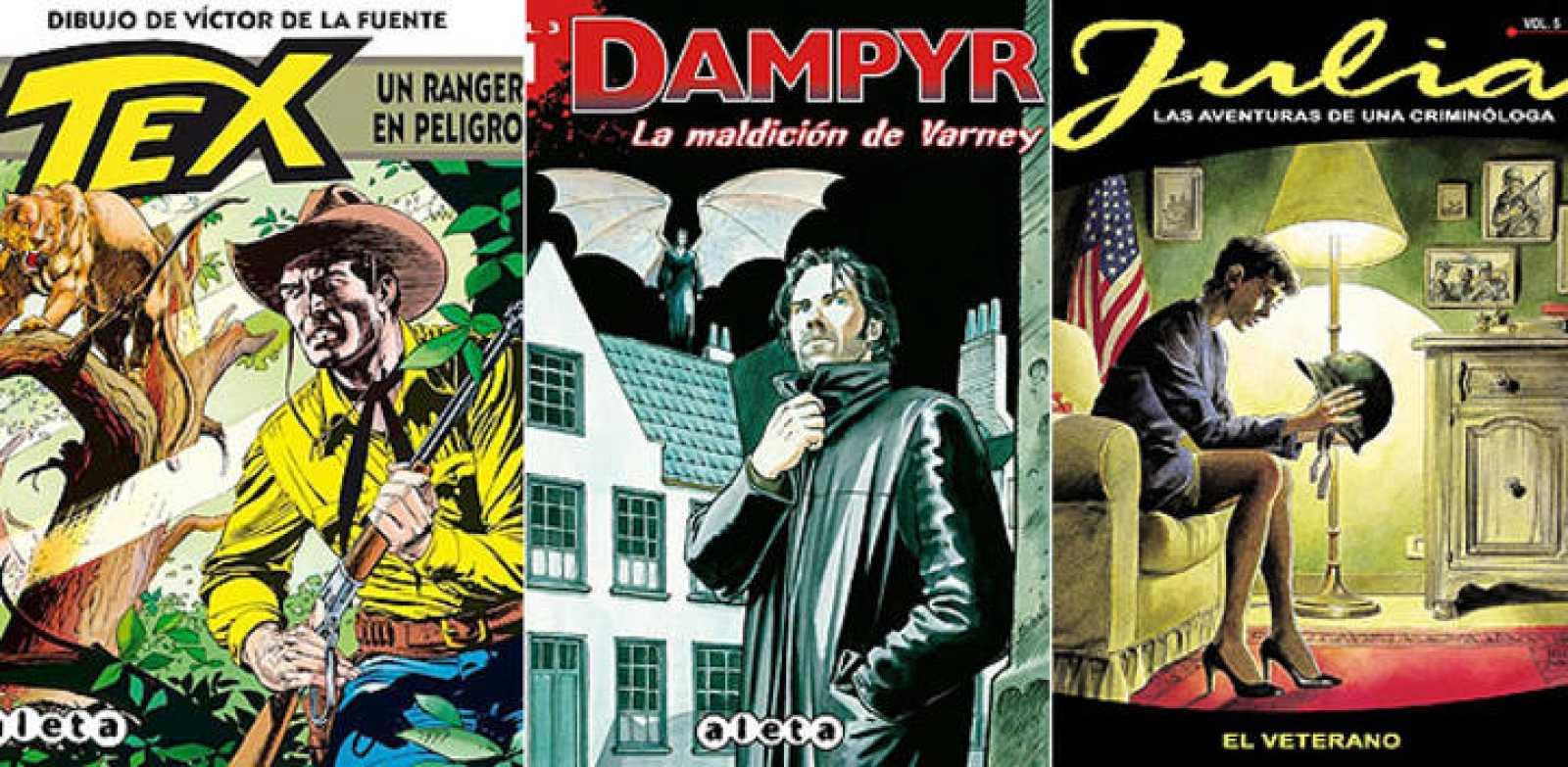 Portadas de 'Tex', 'Dampyr' y 'Julia', tres cómics de la editorial de Sergio Bonelli