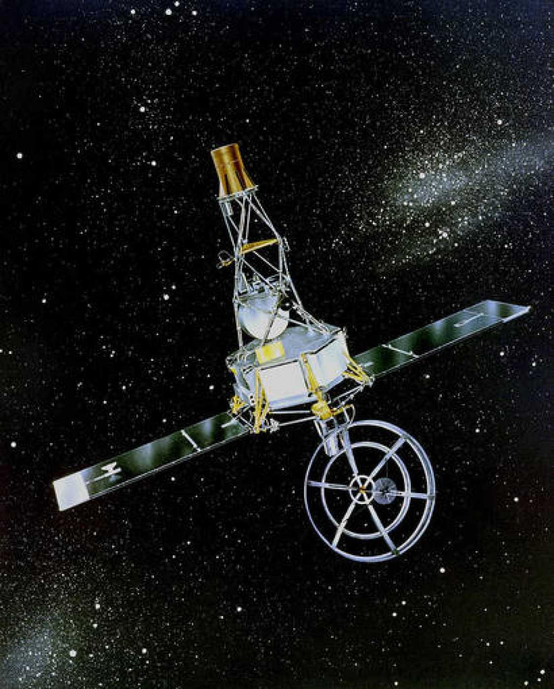 Impresión artística de la Mariner 2 en el espacio