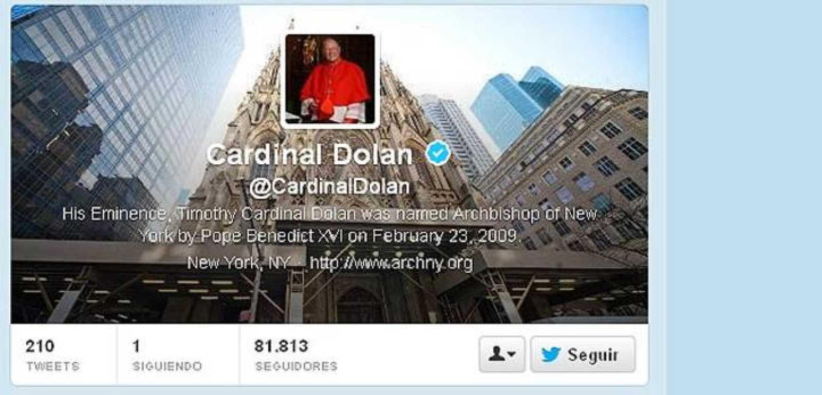 Imagen del twitter del cardenal Timothy Dolan, arzobispo de Nueva York.