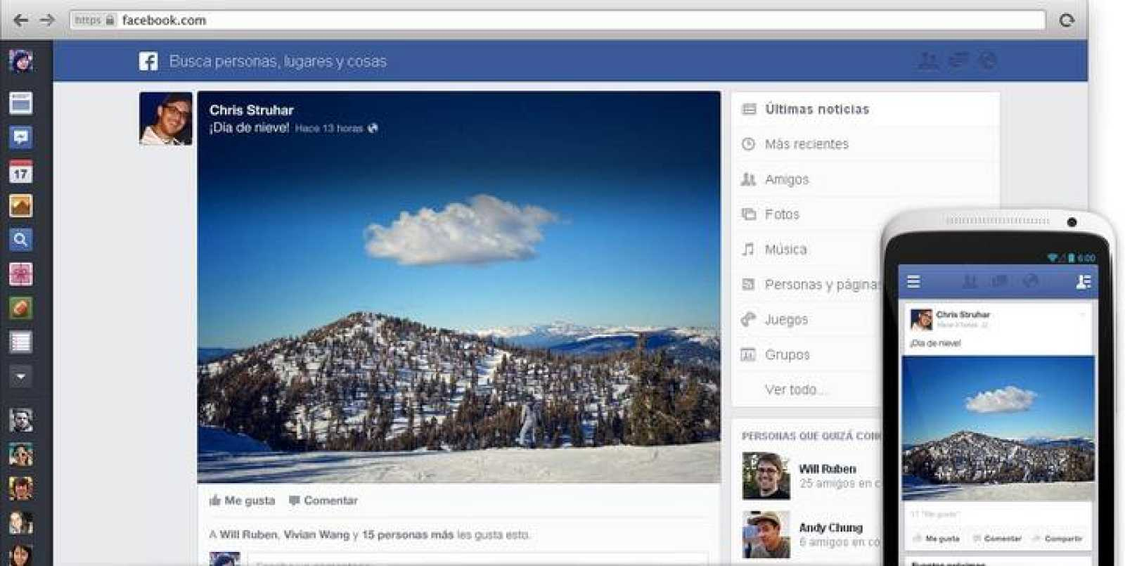 Nuevo diseño de Facebook 2013.