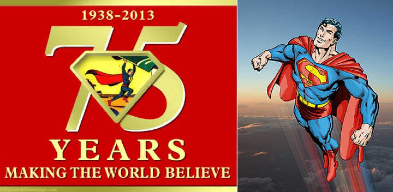 Ilustración alegórica del 75 aniversario de Superman y la versión de John Byrne que publica, actualmente, ecc ediciones