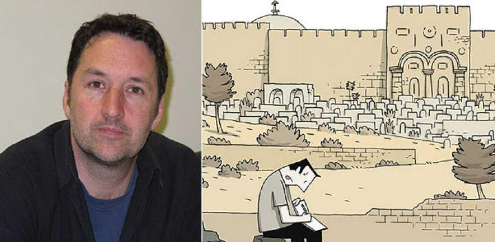 Guy Delisle en el Salón del cómic de Barcelona y fragmento de la portada de 'Crónicas de Jerusalén'