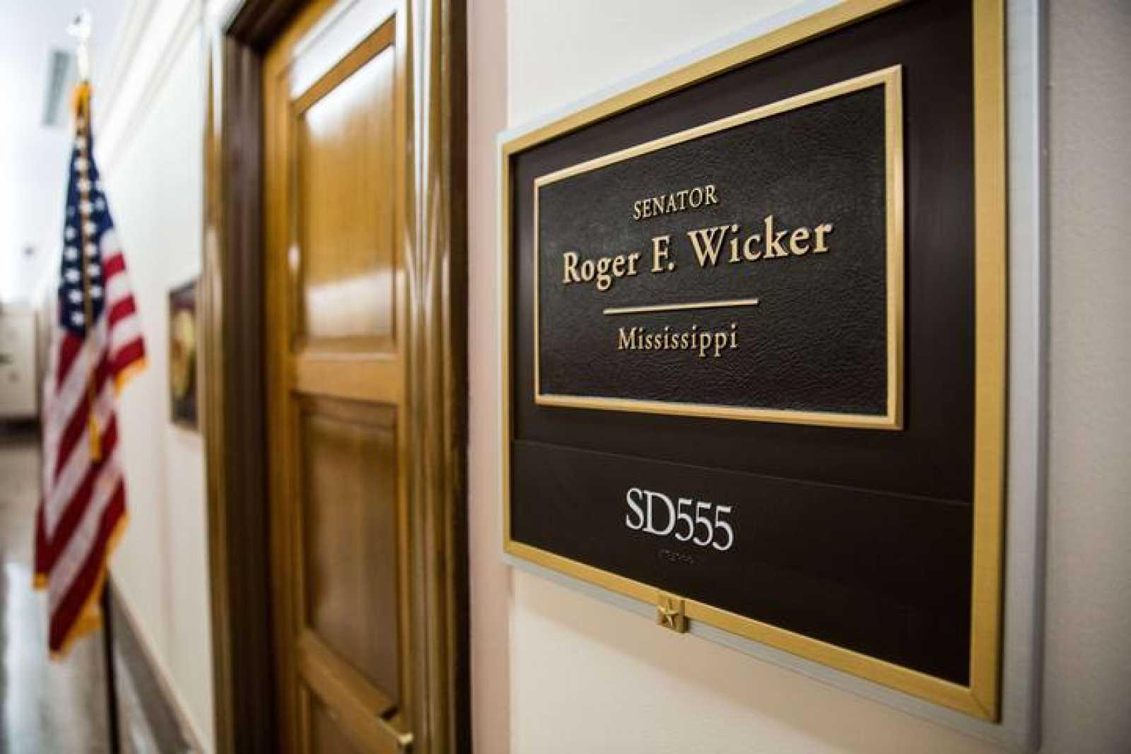 Entrada de la oficina del senador de EE.UU. Roger Wicker, en el Capitolio