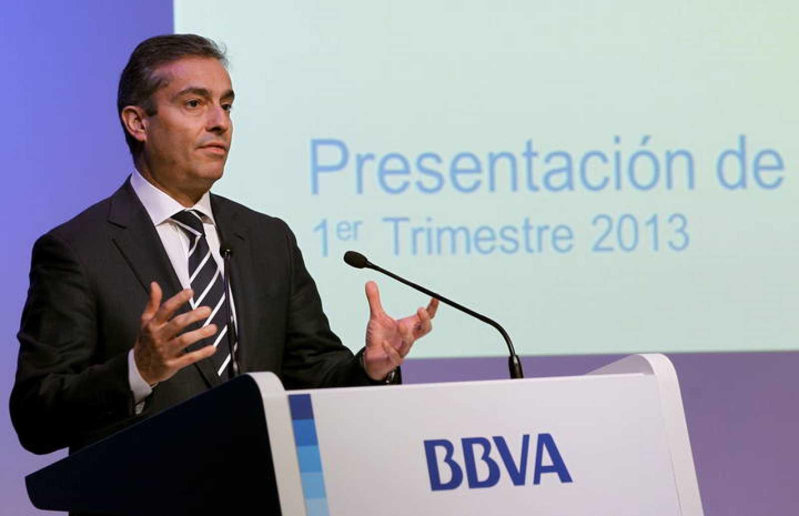 El consejero delegado del BBVA, Ángel Cano, durante la presentación de los resultados del primer trimestre de 2013