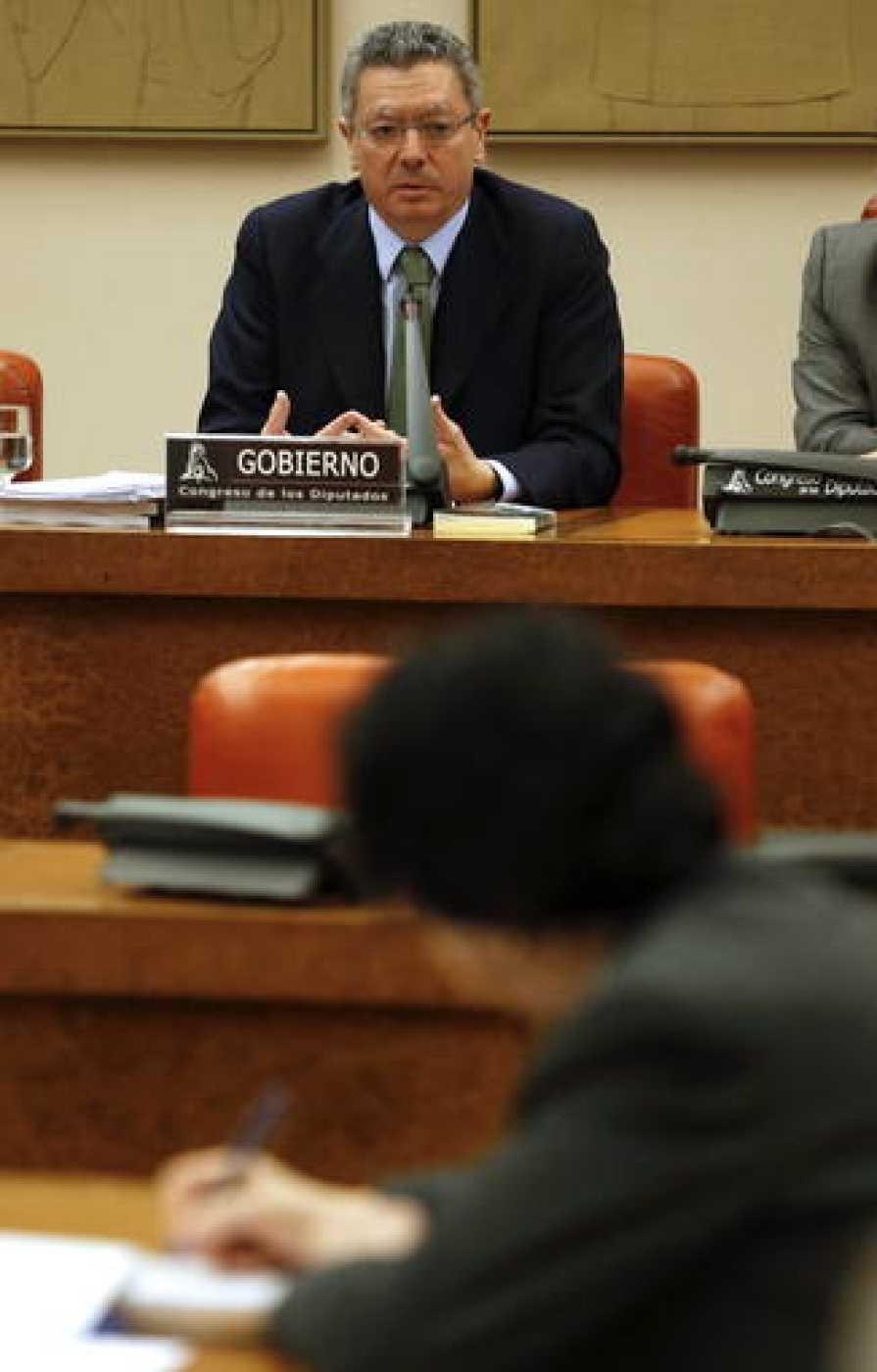 El ministro de Justicia, Alberto Ruíz Gallardón, durante una comparecencia en el Congreso.