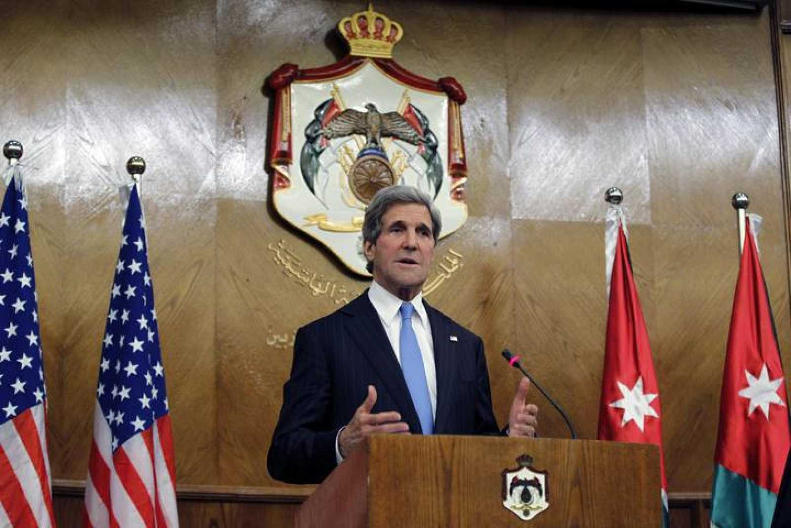 U.S. Secretary of State Kerry speaks during a joint news conference with Jordanian Foreign Minister Judeh in Amman