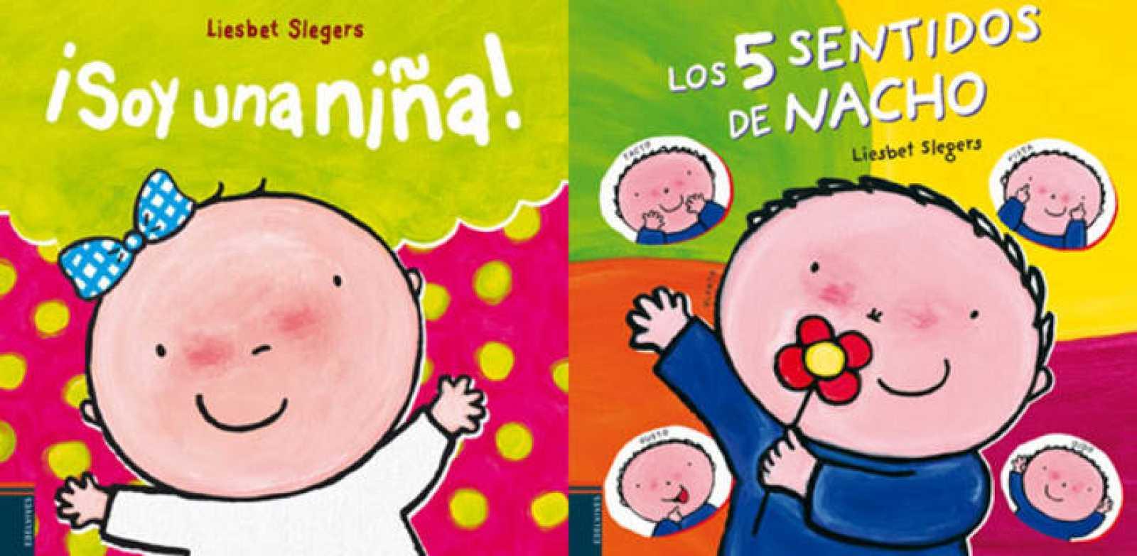 Portadas de 'Soy una niña' y 'Los cinco sentidos de Nacho', de Liesbet Slegers