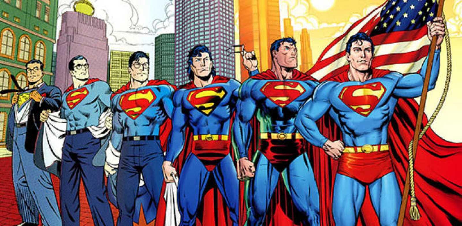 Ilustración que repasa algunas de las versiones de Superman en estos 75 años