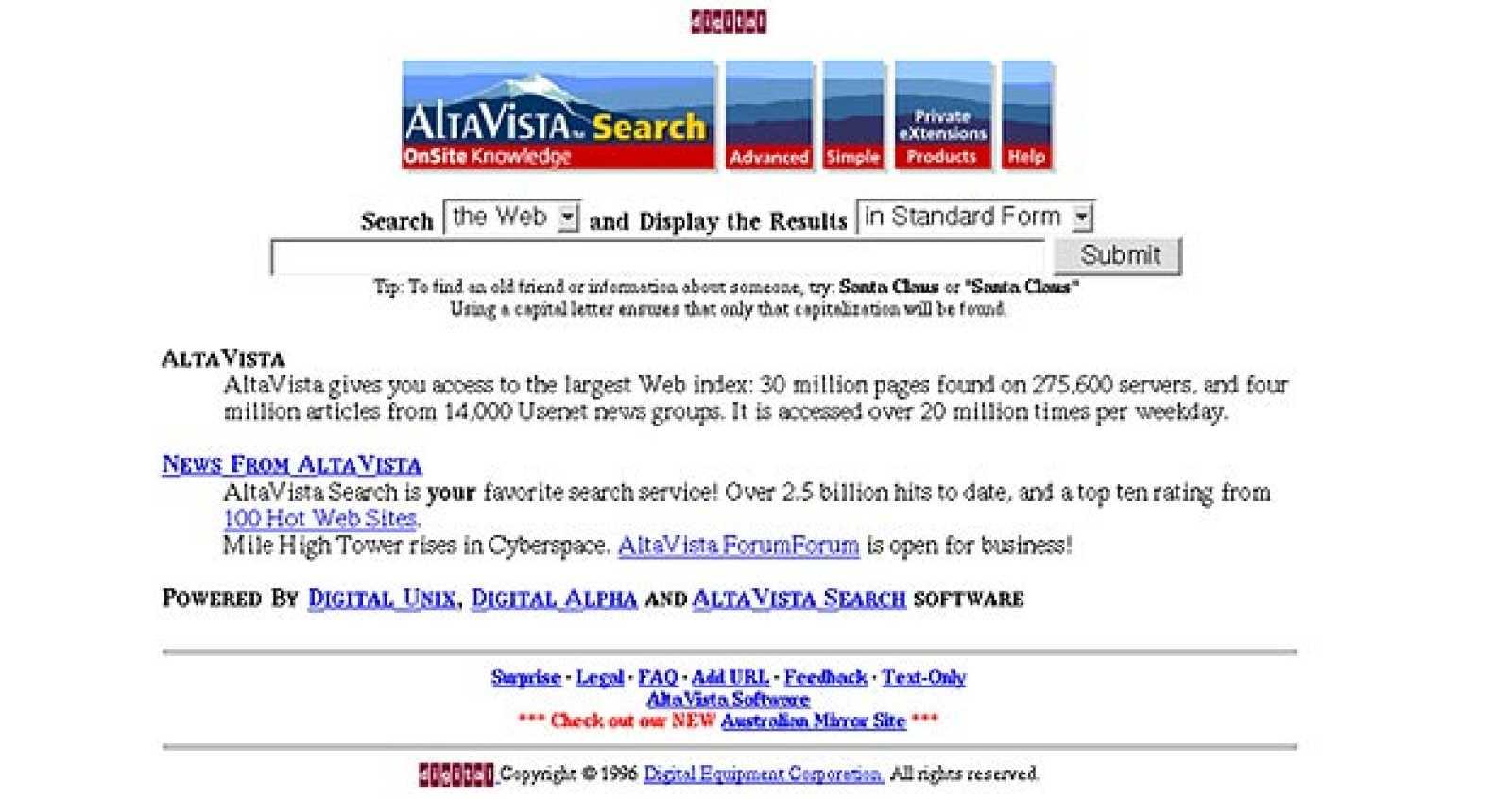 Portada de Altavista en 1996