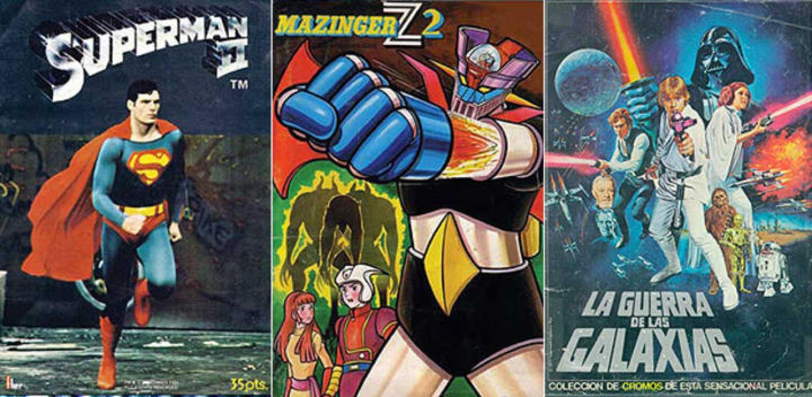 Portadas de tres de los álbumes de cromos de mayor éxito