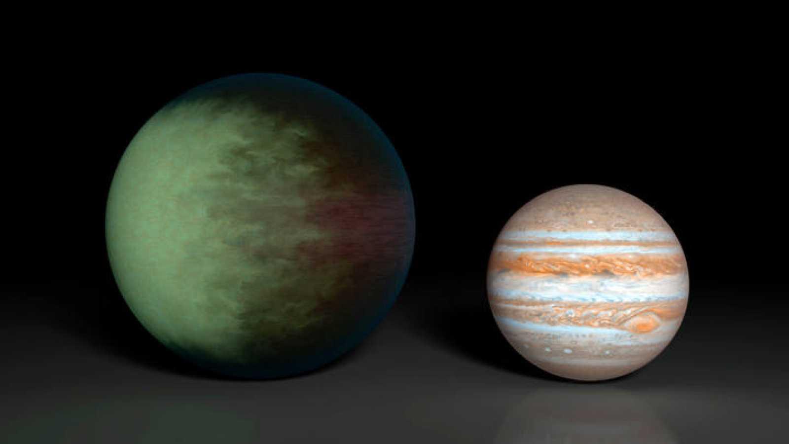Impresión artística de Kepler-7b comparado con Júpiter