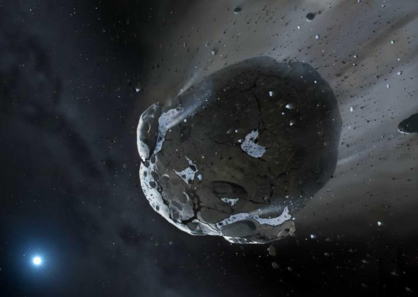 Ilustración artística de la imagen obtenida por Warwick y Cambridge del asteroide rico en agua