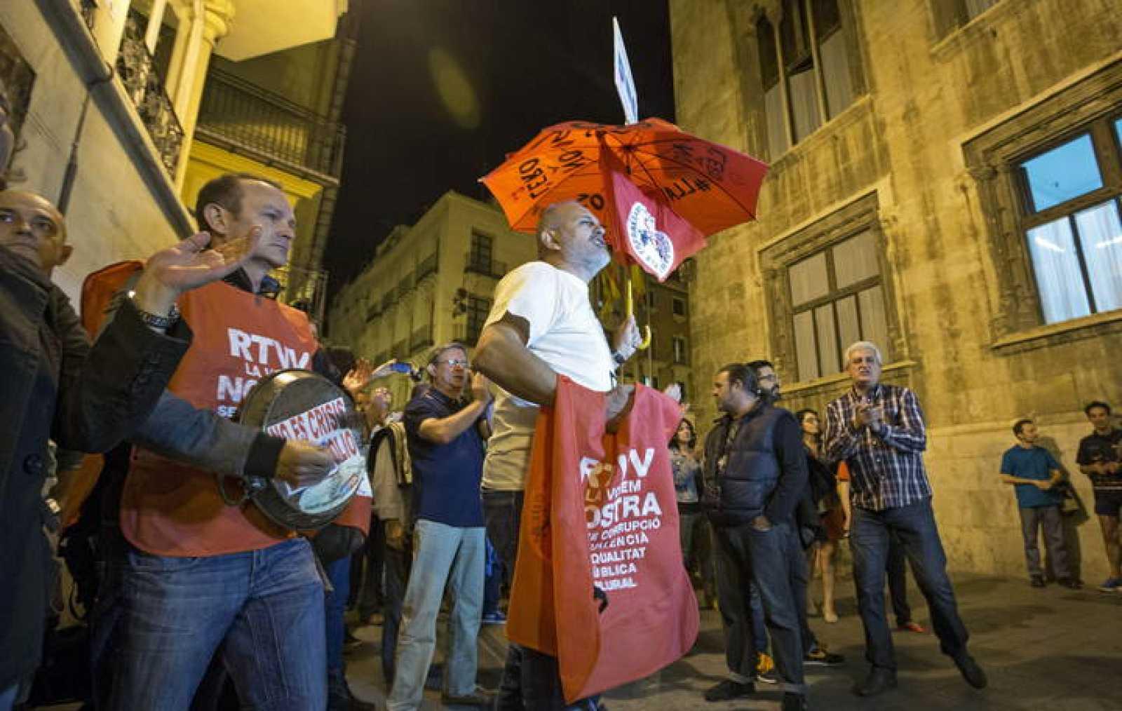 PROTESTA DE TRABAJADORES DE RTVV TRAS ANUNCIO DE CIERRE