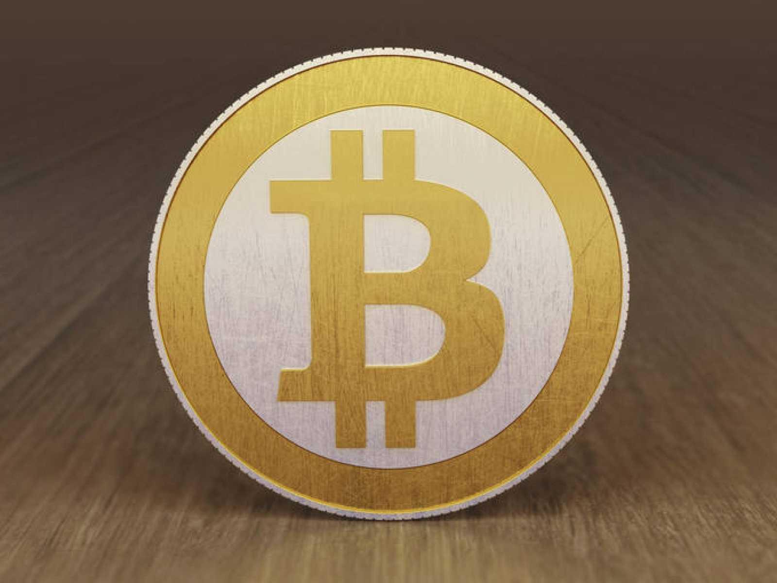 Una representación física de la moneda Bitcoin.