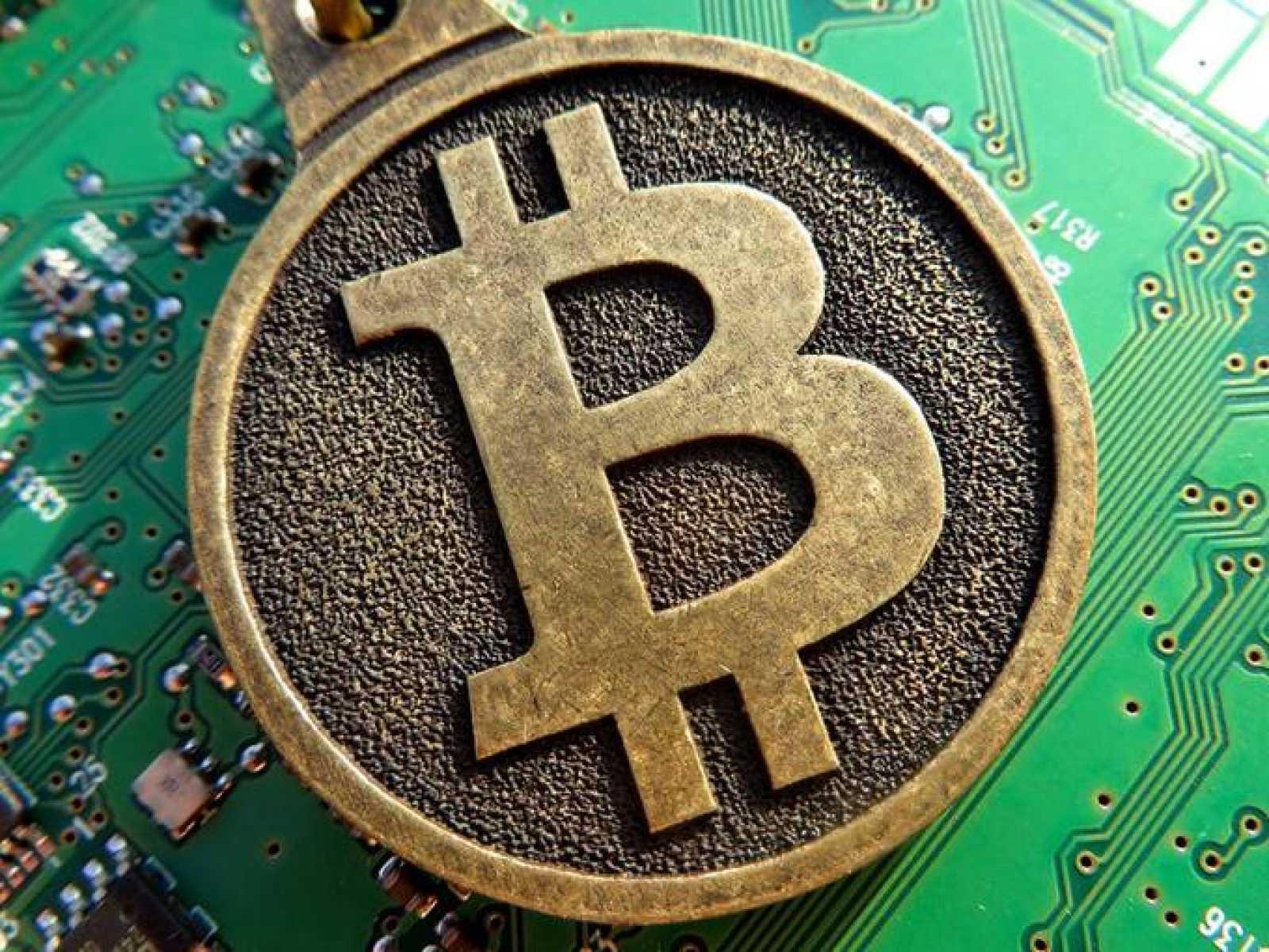 Moneda de Bitcoin.
