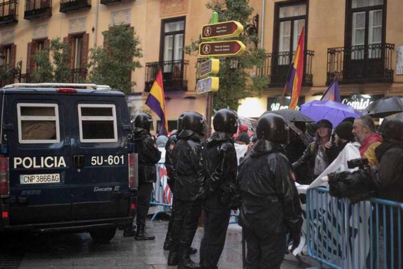 Agentes antidisturbios en una manifestación en Madrid.