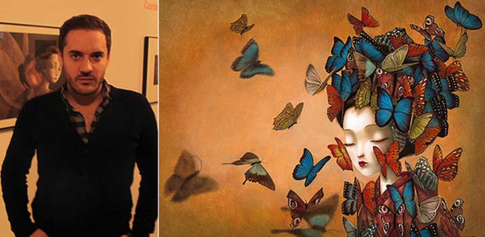 Benjamin Lacombe y una ilustración de su libro, Madama Butterfly