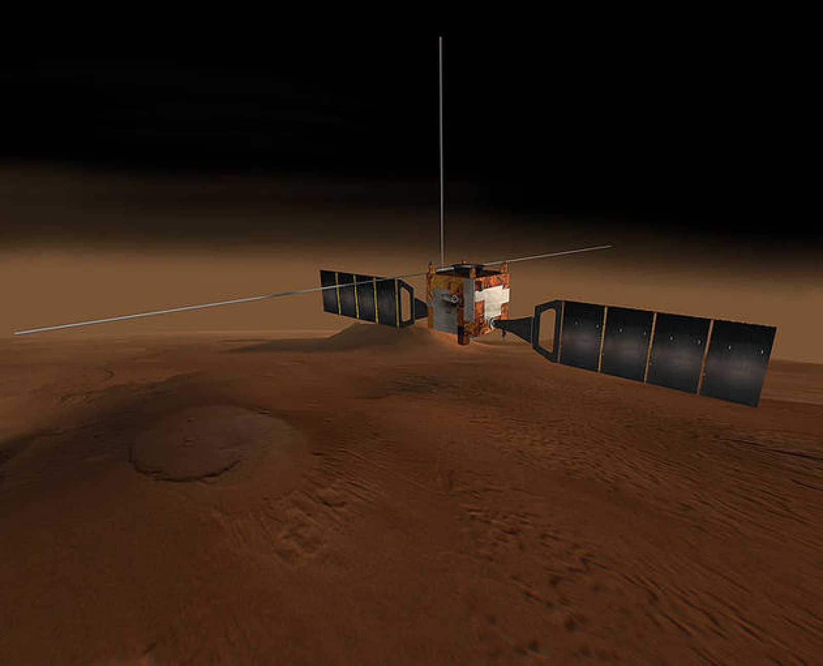 Impresión artística de la Mars Express en órbita alrededor de Marte