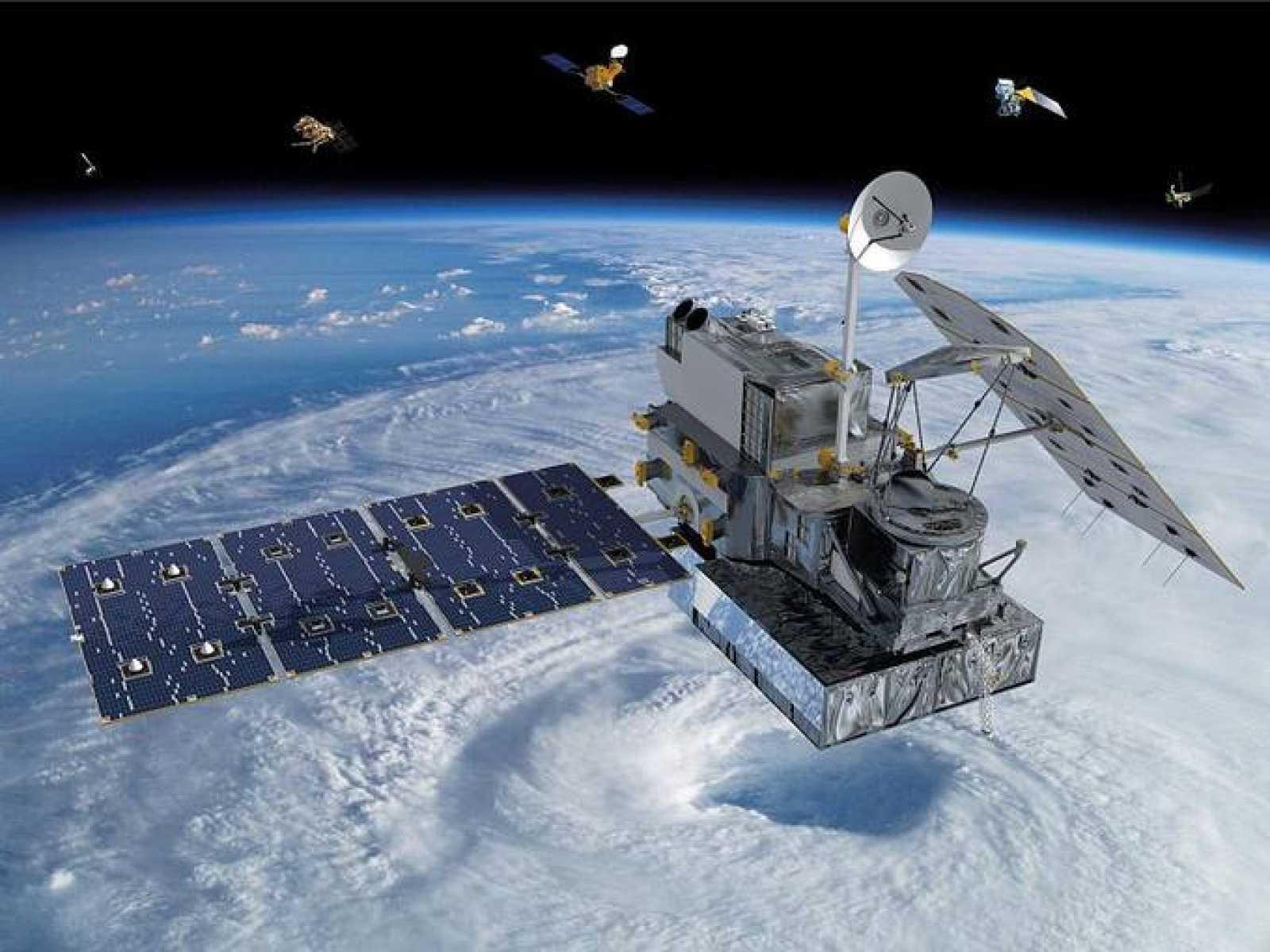 Impresión artística del GPM en órbita con otros satélites de la constelación al fondo