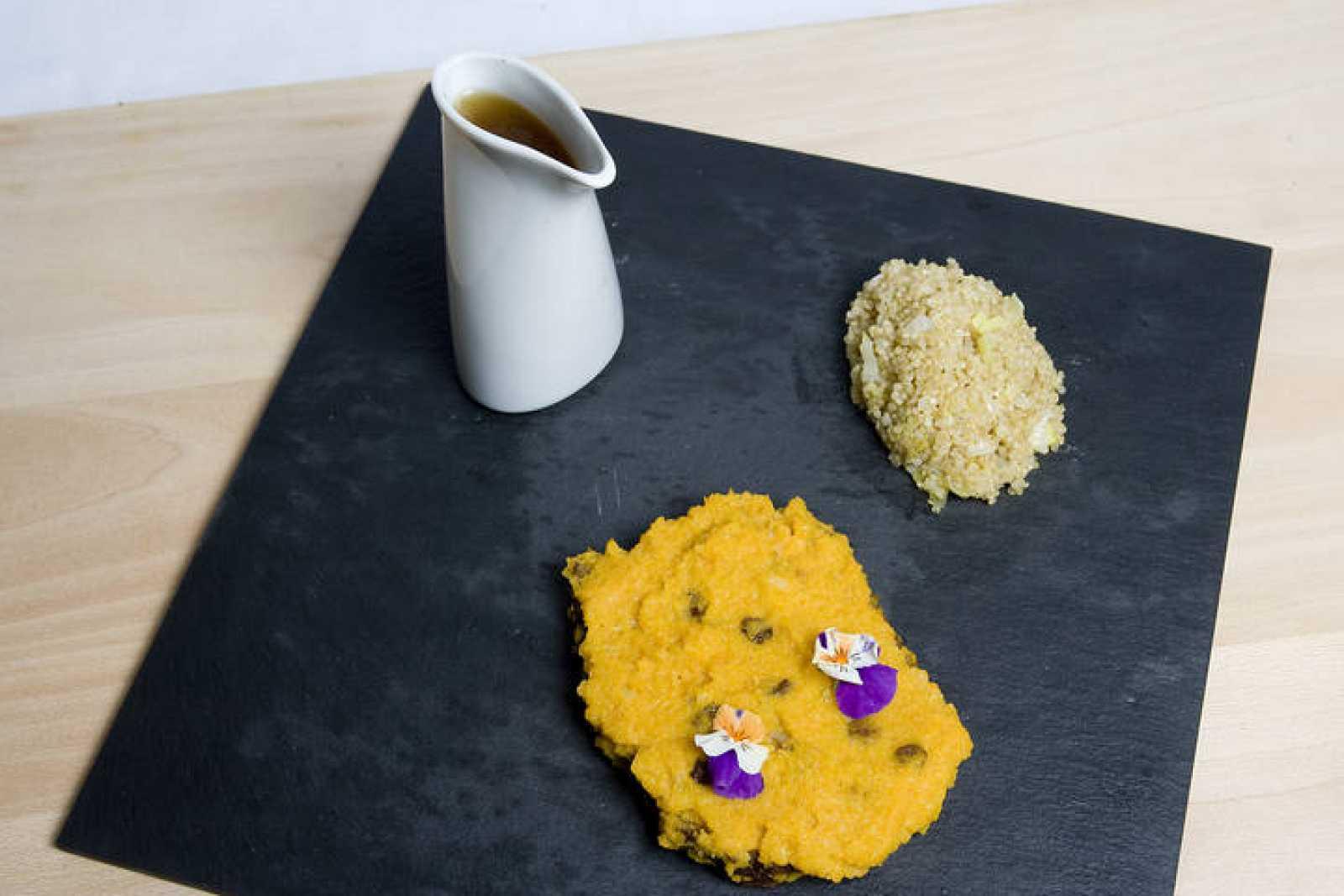 MasterChef - Seitán en salsa de zanahoria con quinoa, puerro salteado y caldo de miso