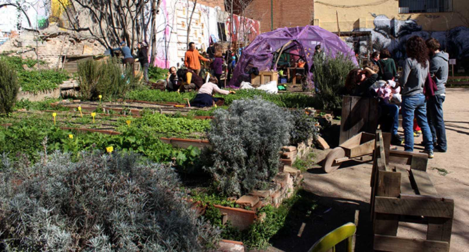 Vecinos y visitantes disfrutan de una mañana de sol en 'Esta es una plaza' en Lavapiés (Madrid)