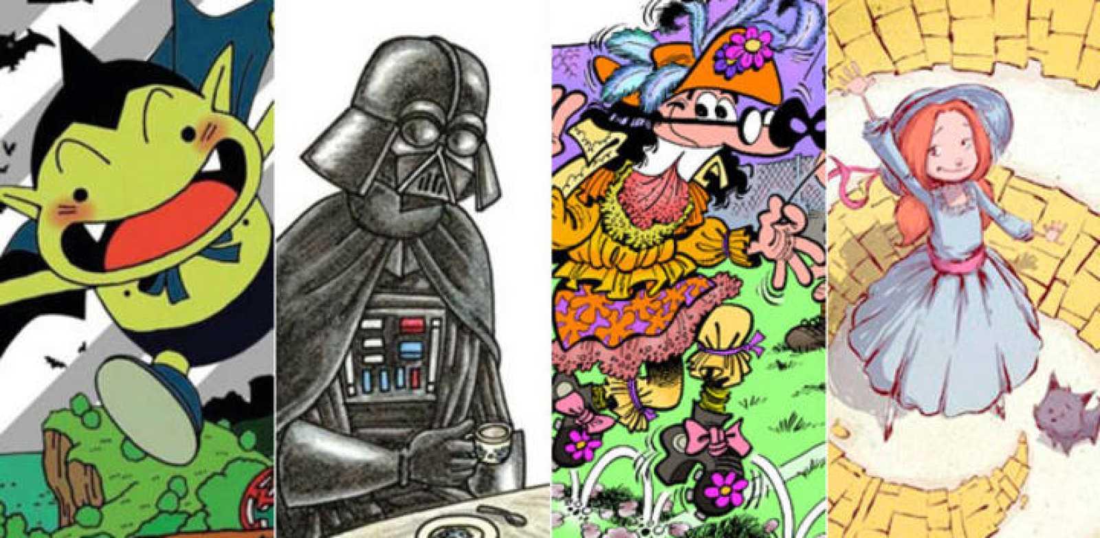 Fragmentos de ilustraciones de 'Cowa!' (Planeta DeAgostini), 'Darth Vader y su princesita' (Planeta DeAgostini), 'Mortadelo y Filemón: Mundial 2014' (Ediciones B) y 'Camino a Oz' (Panini)