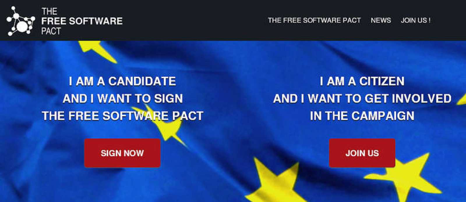 Portada de la web europea Freesoftwarepact.eu.