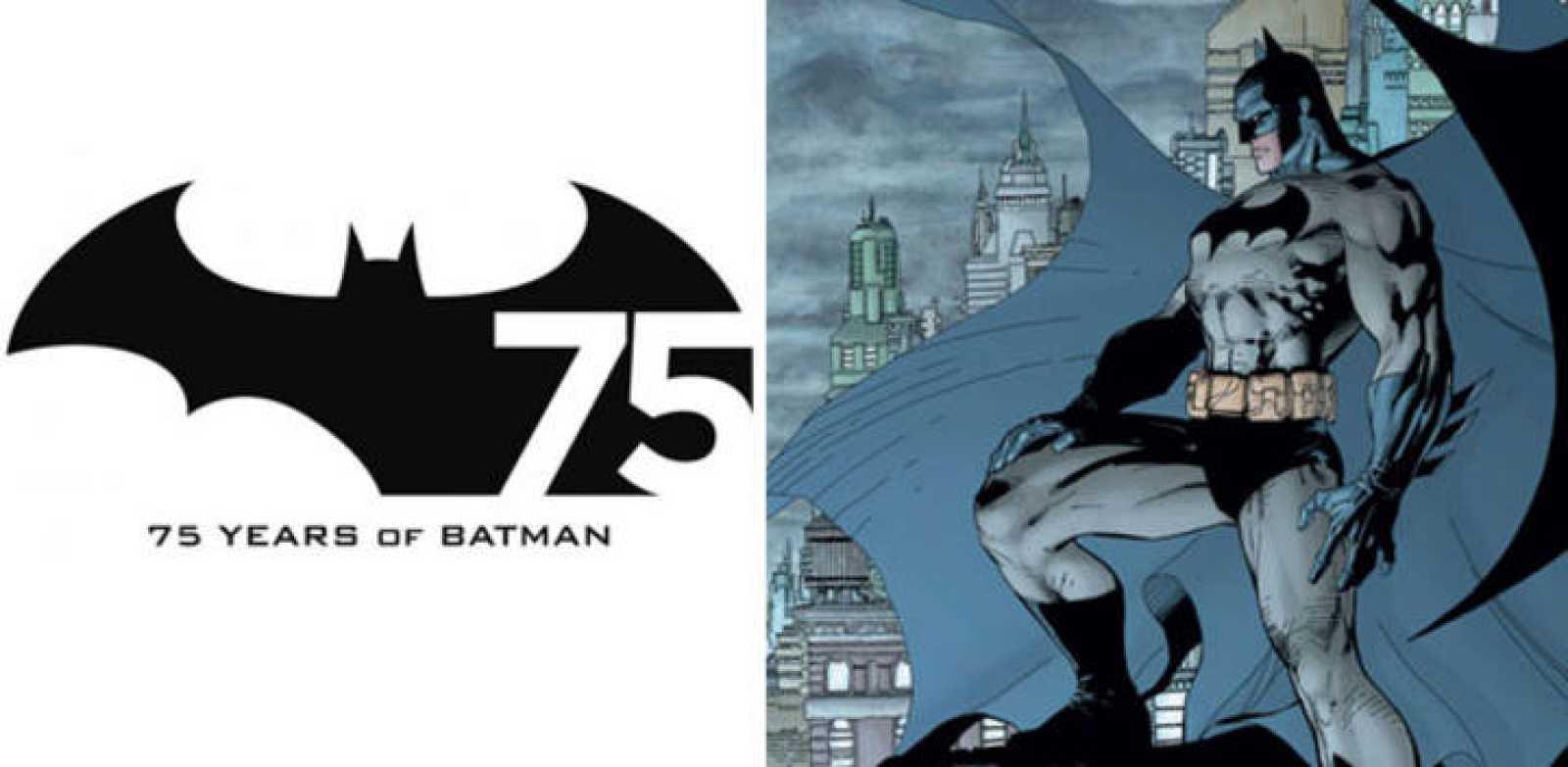 El logotipo del 75 aniversario de Batman y el personaje visto por Jim Lee
