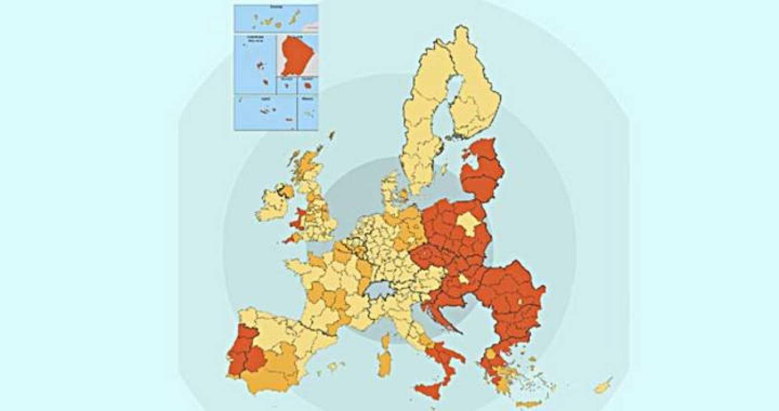 Mapa de ayudas a la inversión por regiones europeas