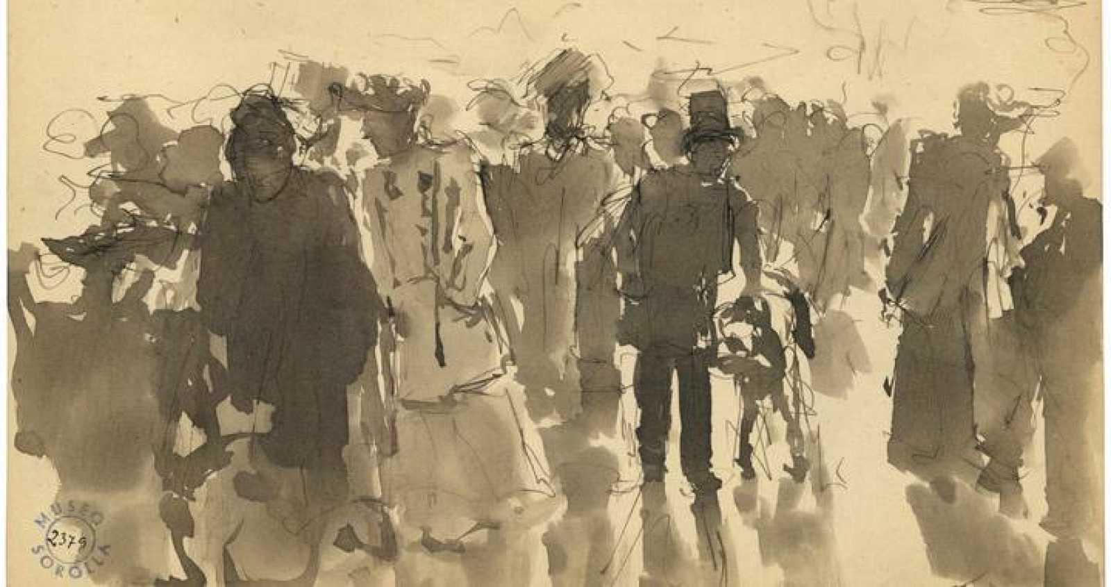Dibujo 'Retiro' (1891-1892), de Joaquín Sorolla. Fotografía facilitada por el Ministerio de Educación, Cultura y Deporte.